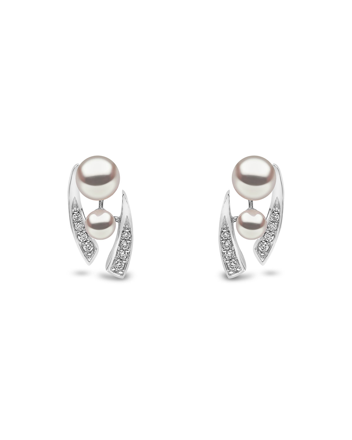 YOKO LONDON 18K White Gold Pearl & Tapered Diamond Stud Earrings
