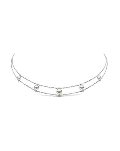 18k White Gold Diamond & 5-Pearl Necklace
