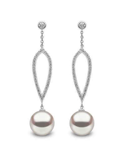 18k White Gold 10mm Pearl & Diamond Drop Earrings