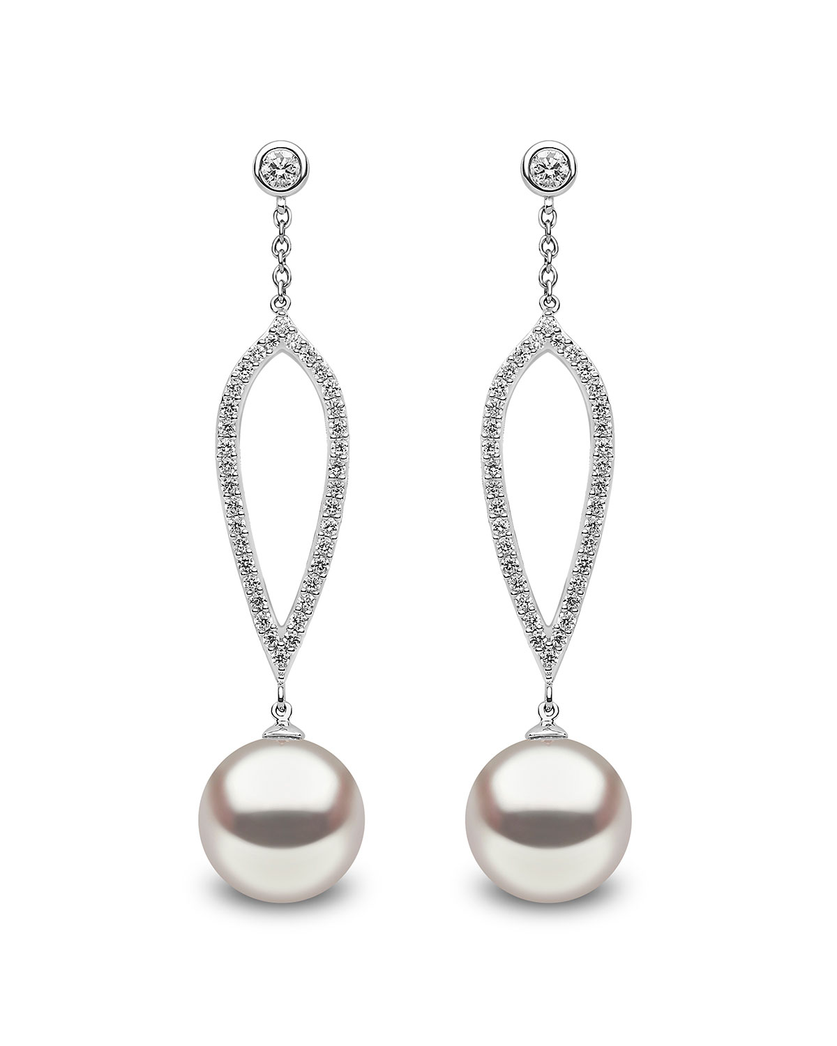YOKO LONDON 18K White Gold 10Mm Pearl & Diamond Drop Earrings
