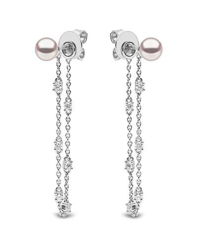 18k White Gold Pearl & Diamond Chain Earrings