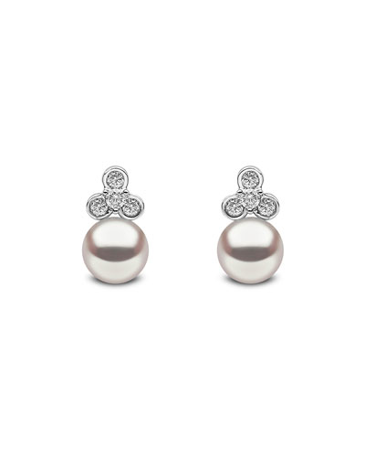 18k White Gold Pearl & Diamond Trio Stud Earrings
