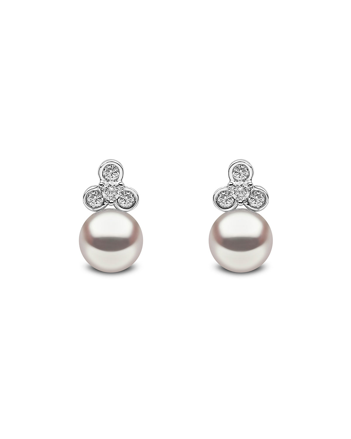 YOKO LONDON 18K White Gold Pearl & Diamond Trio Stud Earrings