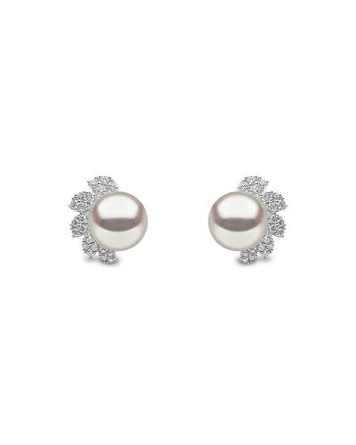 18k White Gold 8mm Pearl & Diamond Stud Earrings