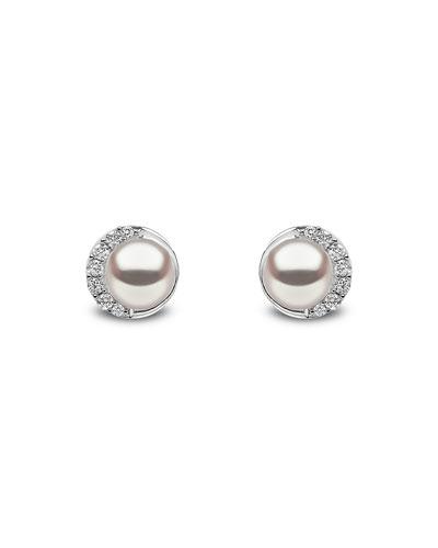 18k White Gold Pearl & Diamond Stud Earrings