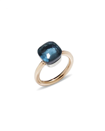 Nudo 18k Rose Gold London Blue Topaz Ring, Size 51