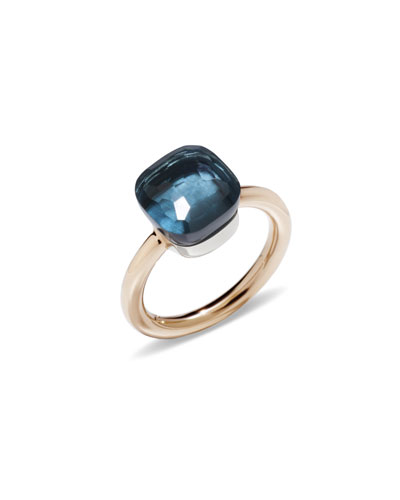 Nudo 18k Rose Gold London Blue Topaz Ring, Size 53
