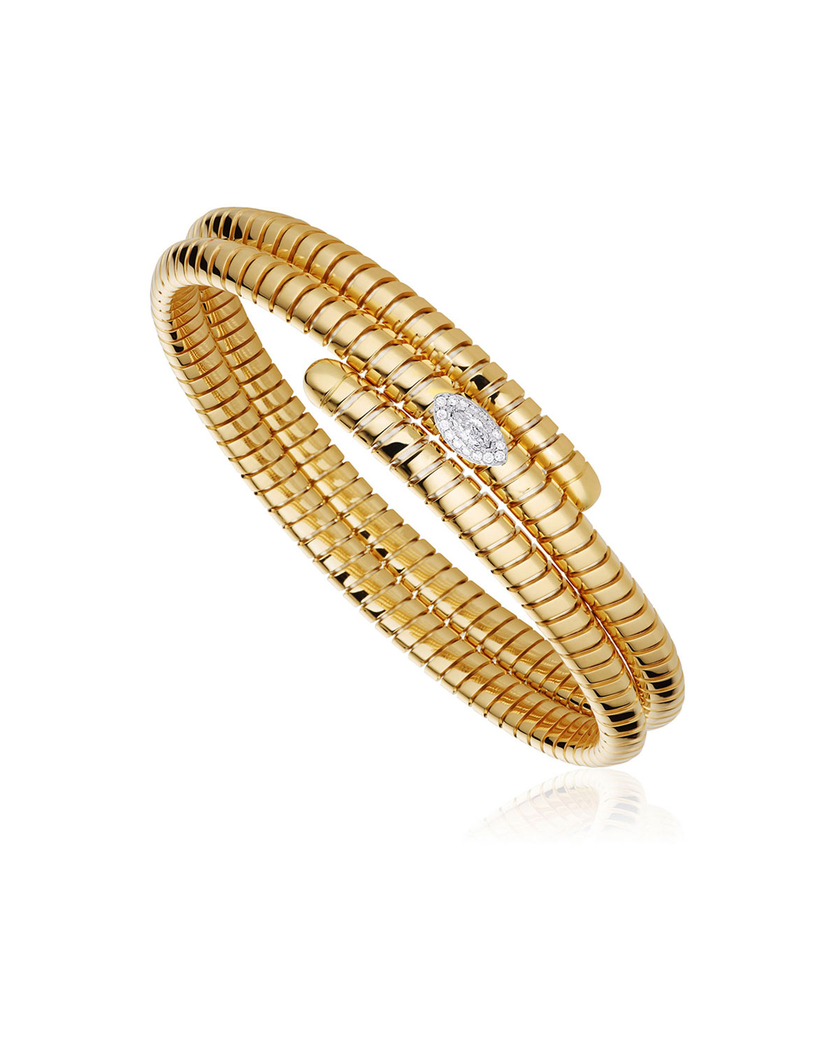 MARINA B Trisola 18K Diamond Triple Navetta Bangle, Size L