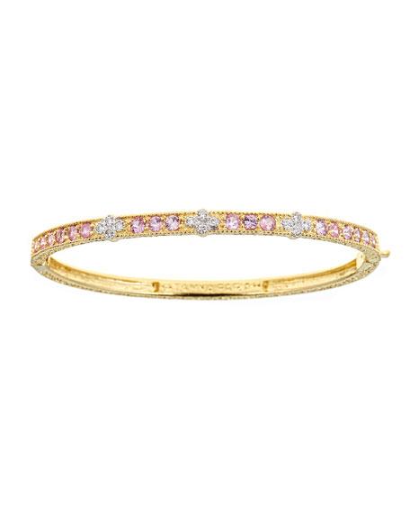 Tanya Farah 18K Modern Etruscan Sapphire & Diamond Cluster Bangle