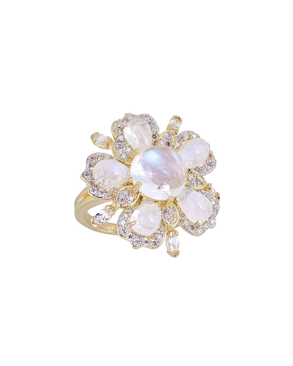 TANYA FARAH 18K Royal Couture Moonstone Flower Ring, Size 6.75