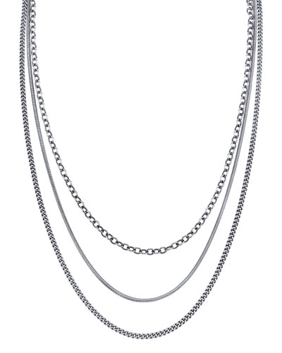 Triple-Layer Diamond-Clasp Necklace