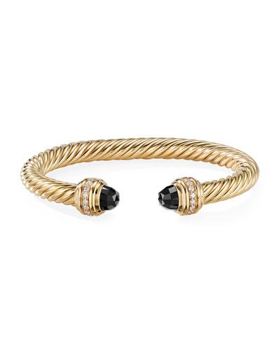 18k Gold Cable Bracelet w/ Onyx & Diamonds, Size L