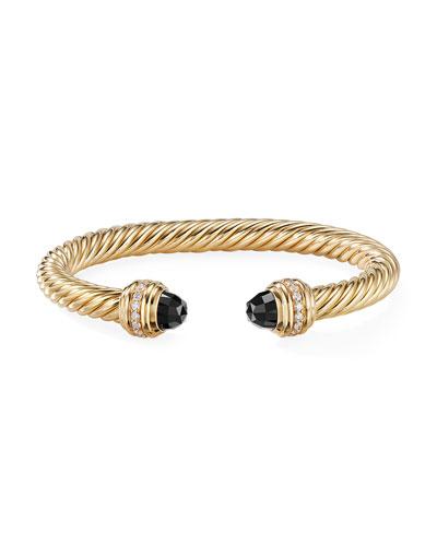 18k Gold Cable Bracelet w/ Onyx & Diamonds, Size M