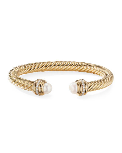 18k Gold Cable Bracelet w/ Diamonds & Pearls, 7mm, Size M