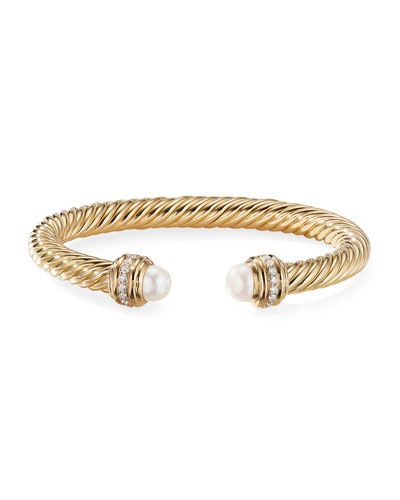 18k Gold Cable Bracelet w/ Diamonds & Pearls, 7mm, Size L