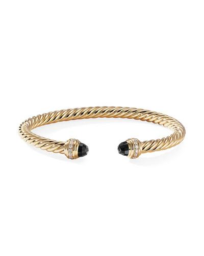 18k Gold Cable Bracelet w/ Diamonds & Onyx, Size L