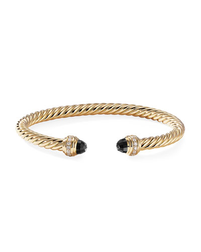 18k Gold Cable Bracelet w/ Diamonds & Onyx, Size M
