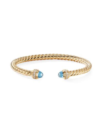 18k Gold Cable Bracelet w/ Diamonds & Topaz, Size S