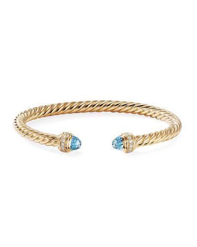 18k Gold Cable Bracelet w/ Diamonds & Topaz, Size M