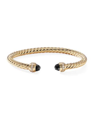 18k Gold Cable Bracelet w/ Diamonds & Onyx, Size S
