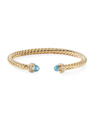 18k Gold Cable Bracelet w/ Diamonds & Topaz, Size L