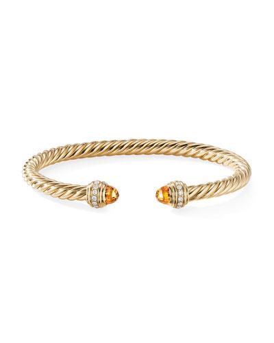 18k Gold Cable Bracelet w/ Diamonds & Citrine, Size S