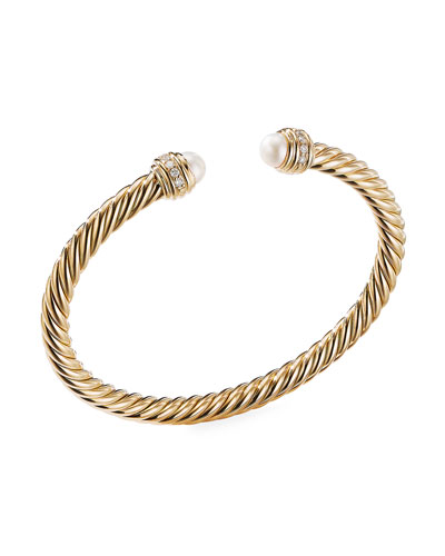 18k Gold Cable Bracelet w/ Diamonds & Pearls, Size M