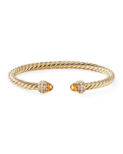 18k Gold Cable Bracelet w/ Diamonds & Citrine, Size M
