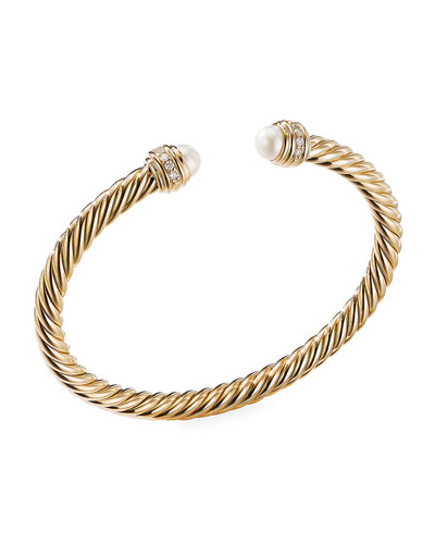 18k Gold Cable Bracelet w/ Diamonds & Pearls, Size S