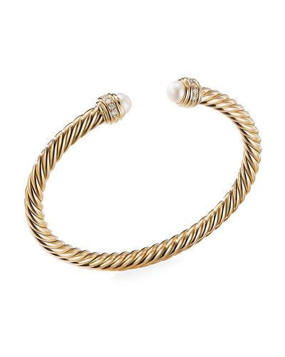 18k Gold Cable Bracelet w/ Diamonds & Pearls, Size L