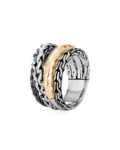Asli Classic Chain Gold/Silver Crossover Ring, Size 7