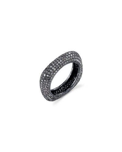 Oxidized Sterling Silver Square Ring with Champagne Diamonds, Size 8
