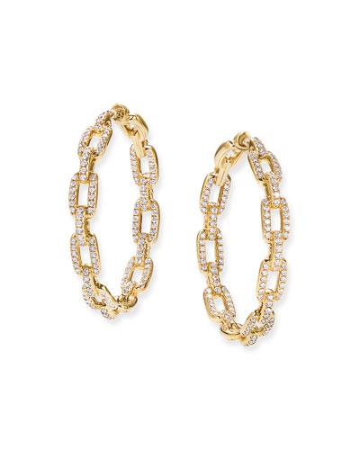 Stax 18k Gold Diamond Link Hoop Earrings