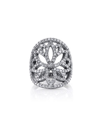 Diamond Lotus Cutout Ring, Size 7