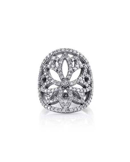 Sheryl Lowe Diamond Lotus Cutout Ring, Size 7