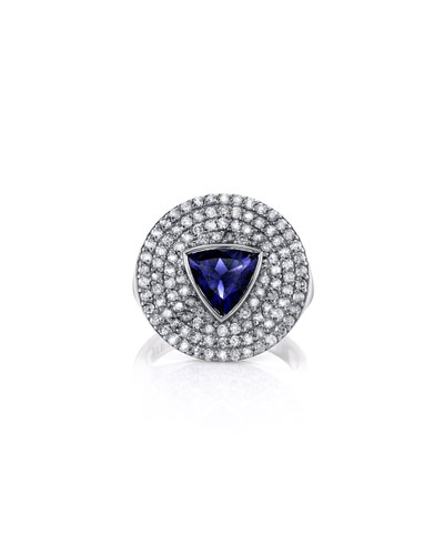 Iolite Trillion & Diamond Ring, Size 7