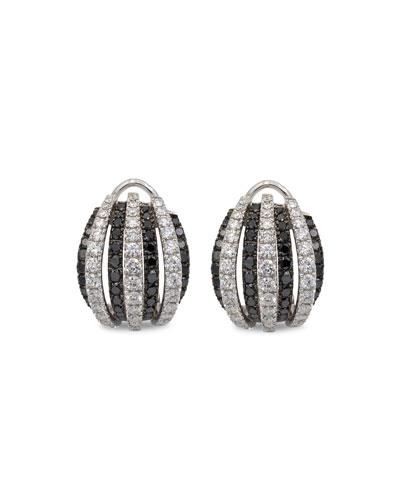 Concerto Dome 18k White Gold Black & White Diamond Earrings