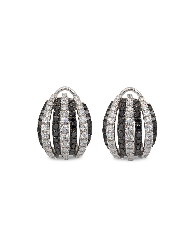 LEO PIZZO Concerto Dome 18K White Gold Black & White Diamond Earrings