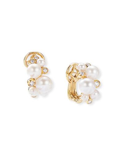 18k Gold Pearl & Diamond Cluster Earrings