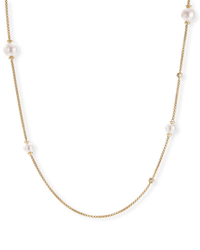 Long 18k Gold Pearl & Diamond Chain Necklace, 36