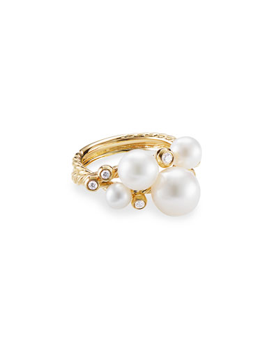18k Gold Pearl & Diamond Cluster Ring, Size 6