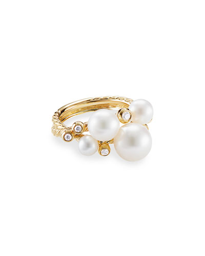 18k Gold Pearl & Diamond Cluster Ring, Size 7