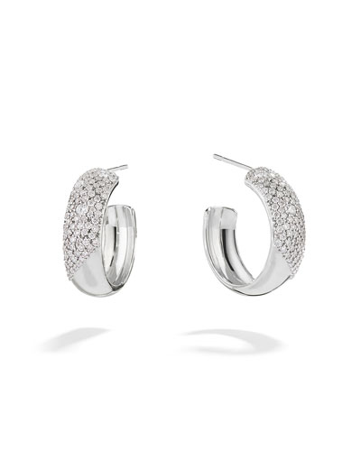 14k White Gold Cluster Diamond Hoop Earrings