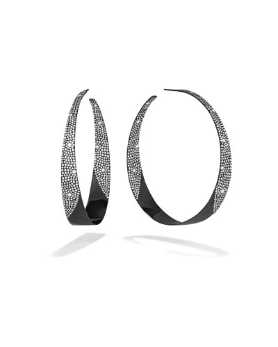 14k Black Gold In/Out Diamond Hoop Earrings