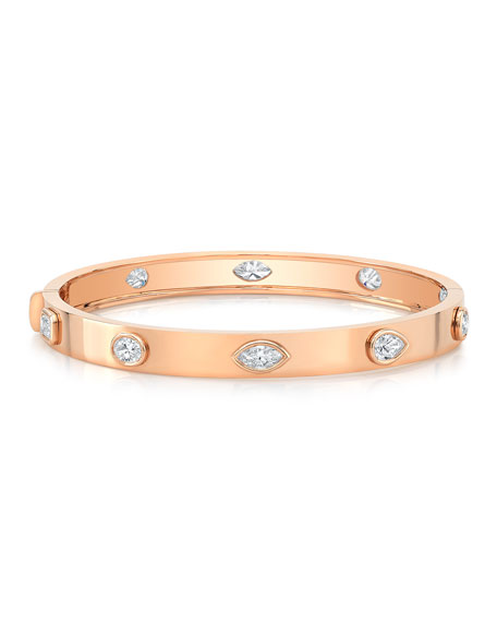 Norman Silverman 18k Rose Gold Fancy Diamond Bangle