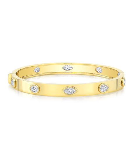 Norman Silverman 18k Yellow Gold Fancy Diamond Bangle