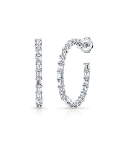 18k White Gold Emerald-Cut Diamond Hoop Earrings