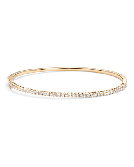 Lana 14k Gold Halfway Diamond Oval Bangle
