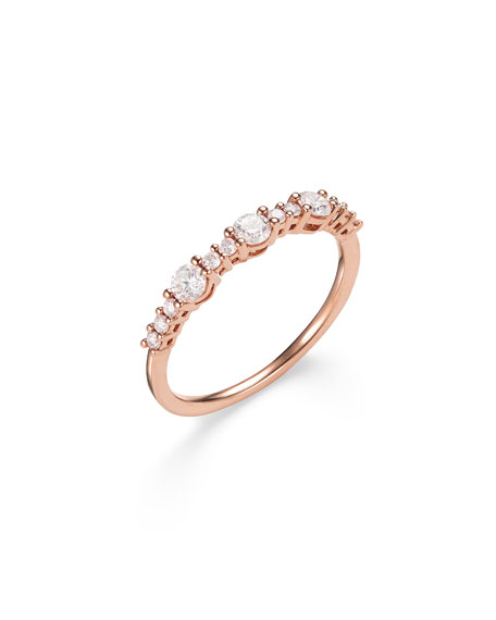 Lana 14k Rose Gold Three Large Diamond Stack Ring, Size 7