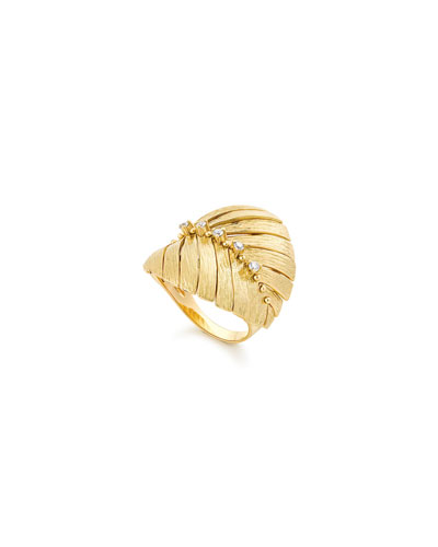 Bahia 18k Gold Diamond Leaf Ring, Size 7.5